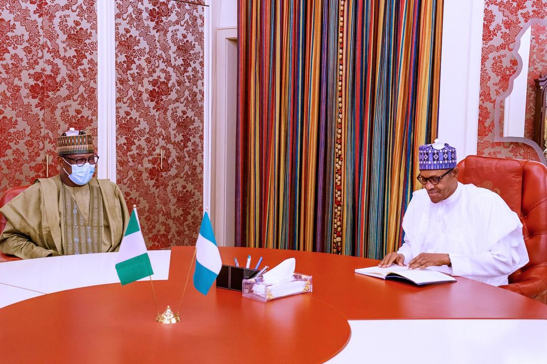 PRESIDENT MUHAMMADU BUHARI RECEIVES IN AUDIENCE NIGER STATE GOVERNOR